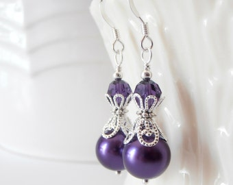 Set of 6 Dark Purple Pearl Earrings for Bridesmaids, Silver Filigree Beaded  Wedding Jewelry with Sterling Silver Wires