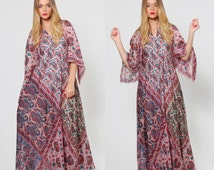 Vintage 60s Indian SILK Caftan Indian Maxi Dress Ethnic Hippie Dress Boho Chic ANGEL Sleeve Maxi Dress