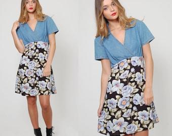 Vintage 90s Denim BABYDOLL Dress Light Wash Denim Dress Blue FLORAL Mini Dress Tee Shirt Dress REVIVAL Dress