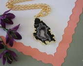 Druzy Necklace Gold, Geode Necklace, Crystal Necklace, Gold Geode Slice Druzy, GG22