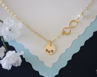 Infinity Mother Necklace, Infinity Jewelry, Mom Gift, White Pearl, Gold Filled Necklace, Monogram Necklace, Mum, Custom