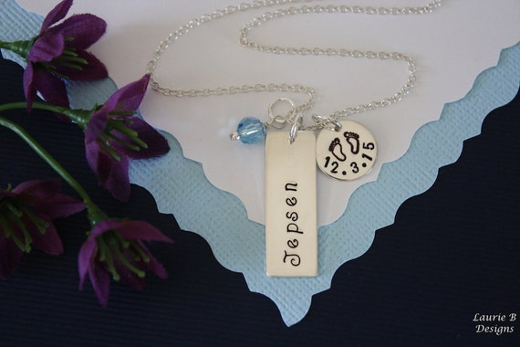 New Mom Necklace, Name Charm, Date Charm Necklace, Sterling Silver Necklace, Newborn, New Grandma, Baby Name and Date Charm, Birthstone