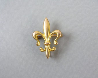 Antique Edwardian 10k gold fleur de lis brooch pin