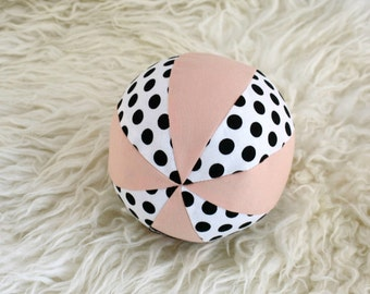 Soft Toy Ball with a Rattle Inside - Pastel Peach with Black and White Polkadots - Organic Cotton - Modern Heirloom Toy