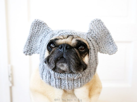 Dog Hat - Elephant Hat - Pug Hat - Dog Costume - Handmade Pet Accessories - Custom Dog Clothing
