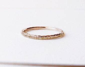 Tree Bark 14K Gold Wedding Band, Handmade Wedding Ring, Delicate Gold ring,  Ethically made wedding band, Carved into Wood Ring