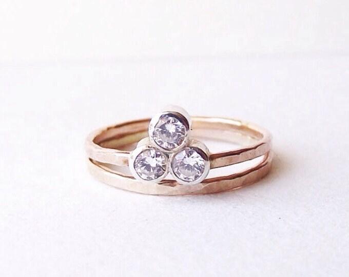 Past Present Future ring. Alternative Engagement Ring. Three stone Moissanite ring. Reclaimed 14K Gold.