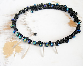 Black Beaded Statement Necklace with Sterling Silver Accents, Lightweight Jewelry, Boho Necklace, Modern Choker Necklace