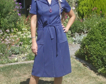 Vintage Pinstripe Polyester House Dress
