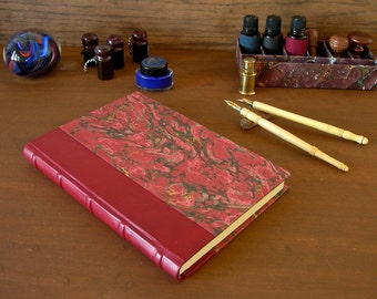 Leather spine journal - 6x8.5in. 15x22cm - French goatskin red leather with five raised bands and red French marbled paper - Ready to ship
