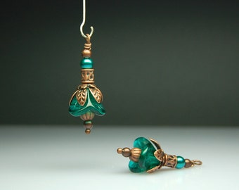 Bead Dangles Vintage Style Teal Green Glass Flowers Pair G907