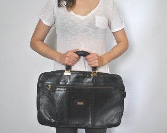 Leather Briefcase Black Laptop Computer Bag / UNISEX