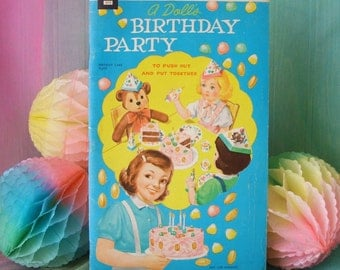 1961 A Doll's Birthday Party Punch Out Book Cake Plates Present Hats Nut Cups