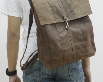 Halloween SALE - 20% OFF Fitt in Waxed Canvas Brown / Backpack / Rucksack / Laptop / Tote / Women / Men / For Him / For Her