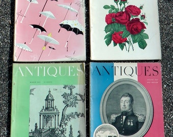 Lot of 4 mid century 1957 Antiques Straight Enterprises magazines Victorian early 1900s decorative art decor history ads photography prints