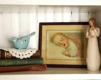 Vintage Sleeping Baby Picture, 1920s, Nursery Framed Art