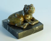 """Mid-Century Art Sculpture Lounging Lion 1960's Signed by """"AMP"""""""