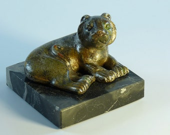 "Mid-Century Art Sculpture Lounging Lion 1960's Signed by ""AMP"""