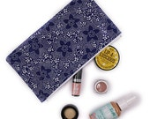 Navy and White Floral Zipper Pouch