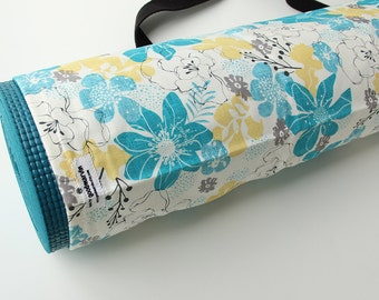 Yoga Mat Bag, Floral, Ladies Yoga Bag, Pilates, Yoga Bag Wide Mat, Turquoise, Pretty