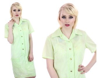 70s Gingham Dress Mod Plaid Cotton Green White Summer 60s Mini A-Line Buttons Down Front Retro 1970s 1960s Indie Day Dress Large L