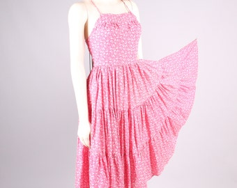 vintage 1970s backless halter dress pink & white feedsack print tiered full skirt size small