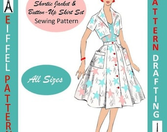 1950s-Cropped Shortie Jacket-Flared Button- Up Skirt-PATTERN DRAFTING Design-All Sizes-Toddler-Adult-Plus-Pdf- FREE Vintage Sewing EBook