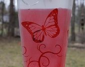 Etched Buttefly and Vine Liquor bottle Hummingbird feeder