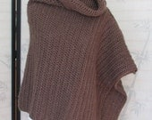 Womens Crochet Poncho Caffe Brown Cowl Neck Handmade