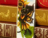 Sunflower Fairy Cat Bookmark, Black Cat With Monarch Butterfly Wings