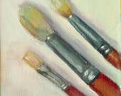 mini oil painting still life brushes 4x4 inch