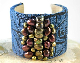 Vintage Bedouin Textile Cuff Bracelet | Freshwater Pearls | Pearl Garden | Boho Chic Jewelry | One of a Kind Handmade Blue Fabric Wrist Cuff