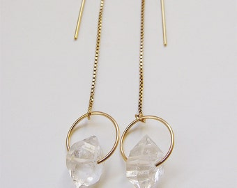 SALE Herkimer Diamond Gold Chain Earrings
