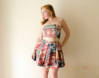 Crop Top and Skirt Set, Dress Set with 50s Horror Movies Print Zombie Dracula Frankenstein Vintage Pop Art Halloween