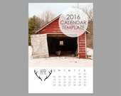 Rustic Calendar Template, 2016 Calendar Template, 5x7 size, 12 month calendar, Antlers, Downloadable file, Print Your Own Calendar