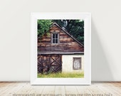Rural Decay Photography, Abandoned House Cottage, Dark Brown Rustic Woodland Decor, Farmhouse Moody, Fine Art Print, Cottage Style Art Print