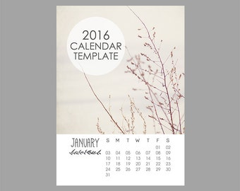 Rustic Calendar Template, 2016 Calendar Template, 5x7 size, 12 month calendar, Leaves, Nature, Downloadable file, Print Your Own Calendar