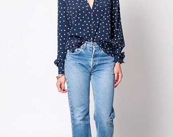The Vintage Navy Blue Polka Dot Button Up Blouse Shirt
