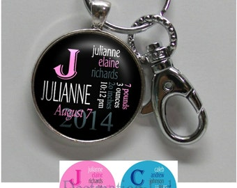 Baby Birth Keychain - Personalized Newborn Keychain with Baby Name, Birthday, Weight and Time in 4 Colors (A258)