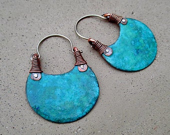 African Beauty in Turquoise, Hoop Earrings, Eye Catching, Boho, Hip, Ethnic, Metalwork