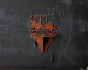 Vintage Wood Shelf Old Ford Car  Folk Art Silhoutte Key Hanger  From Nowvintage on Etsy