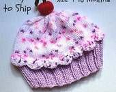Cupcake Hat Toddler 4 - 18 months Lavender Purple Cake Cotton Candy Pink Sprinkle Frosting toddler baby infant 4 6 8 12 18 months