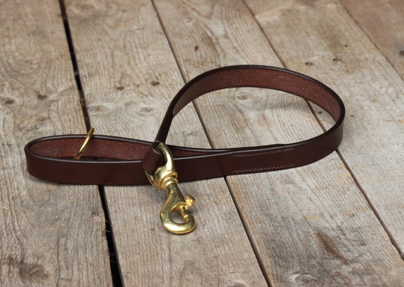 Short leather leash 2 feet lead - For large dog