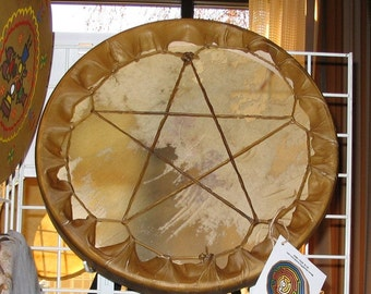 Elk Pentacle laced hand drum