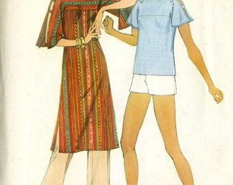 Vintage 70s Simplicity 8071 Misses Pullover Tunic and Top with Split Sleeves Plus Pants or Shorts Sewing Pattern - Size 10 Bust 32.5