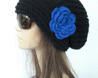 Hand Knit Hat  Womens hat  chunky knit Slouchy  Black Beanie flower  Slouch  Hat   Fall Winter Accessories Gift for Her Wife  Autumn Fashion