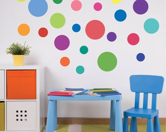 23 Multi-sized Rainbow Colors Polka Dot Wall Decals, Removable and Reusable