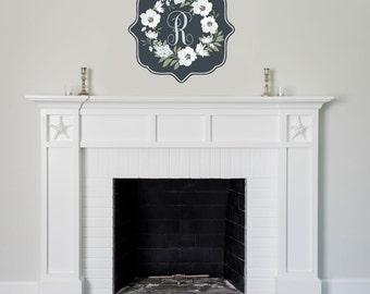 Monogram Wreath Fabric Decal