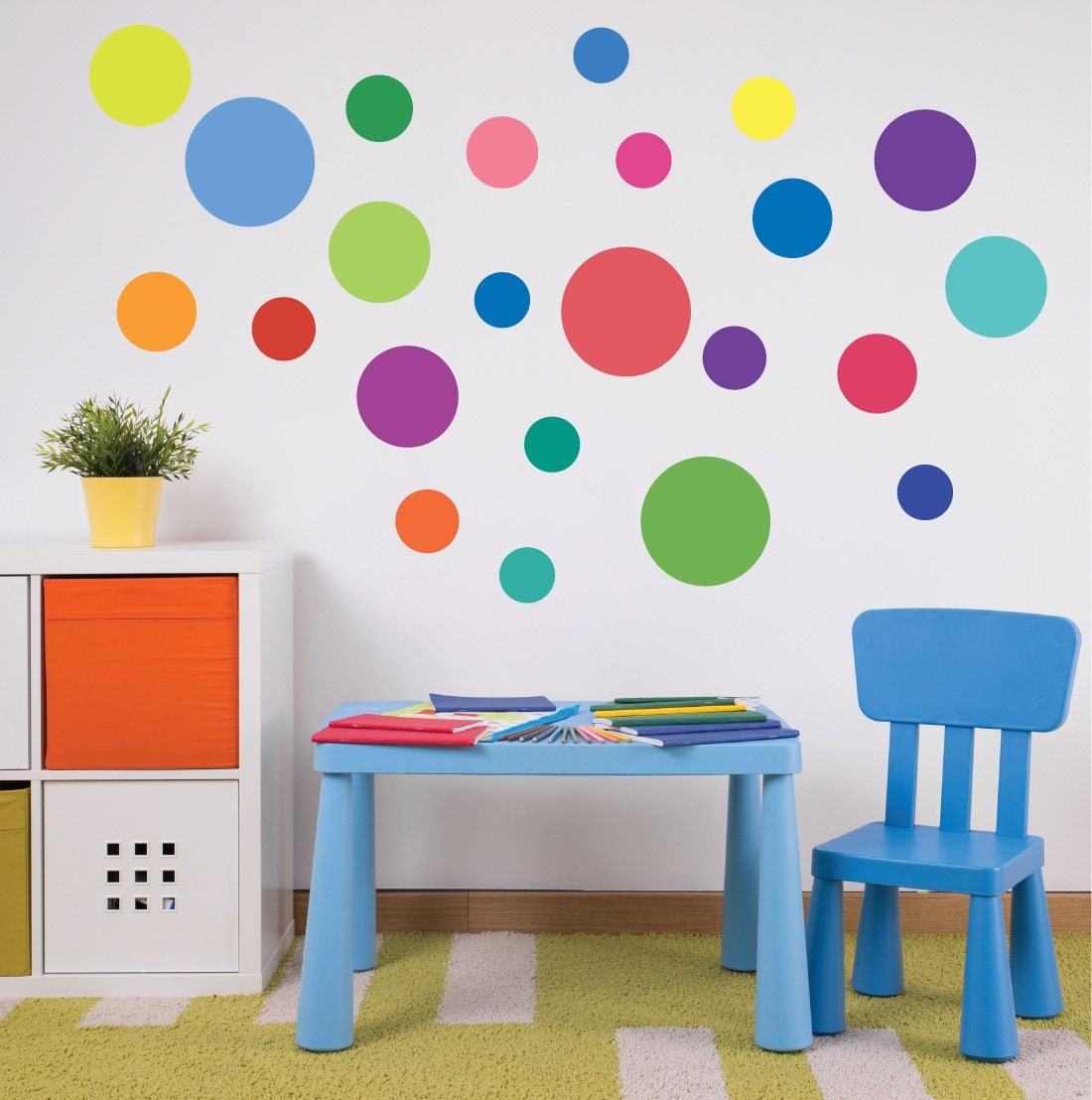 23 multi sized rainbow colors polka dot wall decals removable. Black Bedroom Furniture Sets. Home Design Ideas