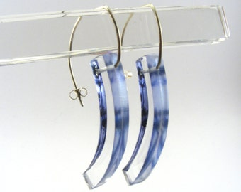 Blue Drop Earrings - Blue Perspex Curve Earrings - Silhouette Flower Dangle earrings - Pierced Ears - Pale Blue drops